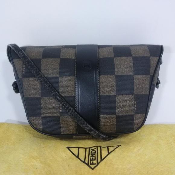 634ba334bbf11 FENDI Vintage Roma Checkered Print Crossbody Bag